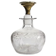 The McChesney Co. 14k Yellow Gold & Etched Glass Perfume Bottle, circa 1925