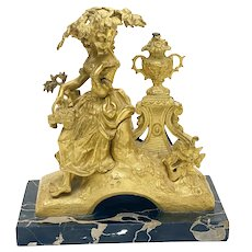 French Gilt Bronze Figural Sculpture of a Beauty on Marble Base, 19th Century