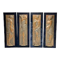 4 Ferdinand Barbedienne Gilt Relief Bronze Plaques of Water Nymphs, circa 1900