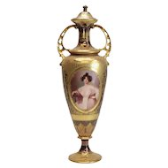 Stunning Dresden Germany Porcelain Jeweled Portrait Urn, 19th Century
