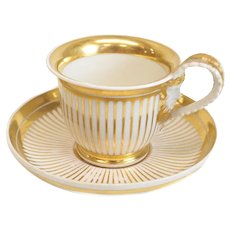 Stunning Royal Vienna Style Porcelain Gilt Striped Cup & Saucer, Imperial Vienna 1826