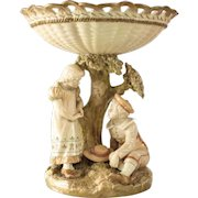 Royal Worcester Porcelain Blush Ivory Colored Reticulated Tazza 1867. Figural Boy & Girl
