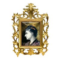 French Enamel Hand Painted Porcelain Plaque by E. Damandre 1889, Beauty