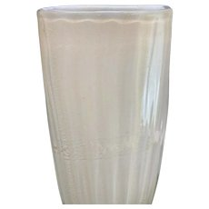 Fine Murano Barovier & Toso White Art Glass Gold Fleck Vase 12.5 inch Tall