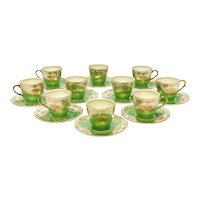 10 Royal Doulton Porcelain Green & Gold Cup and Saucers, circa 1910