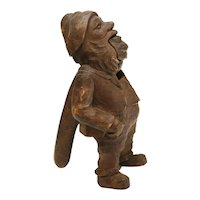 German Wooden Hand Carved Gnome Nut Cracker, Early 19th or 18th Century