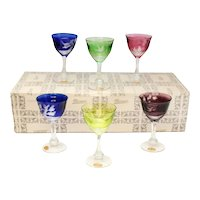 6 Moser Multi-Colored Art Glass Cordial Wine Goblets in Birds of the Wild, Box