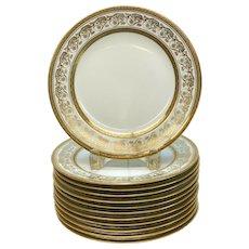12 Limoges France Charles Ahrenfeldt Porcelain Gilt Dessert Plates circa 1920