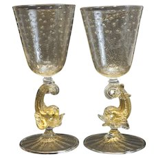 Pair Venetian Gold Fleck Controlled Bubble Water Goblets, c.1950 Attrib Salviati