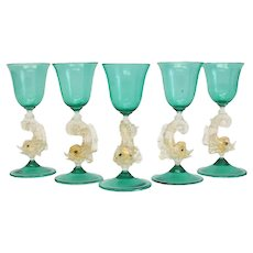 5 Venetian Green Art Glass Cordial Wine Glasses, circa 1950. Attrib. to Salivati