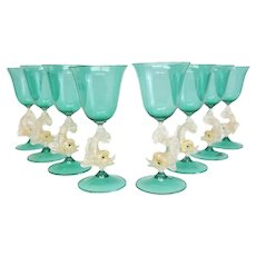 8 Venetian Green Art Glass Wine Glasses, circa 1950. Attrib. to Salivati