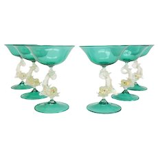 6 Venetian Green Art Glass Champagne Glasses, circa 1950. Attrib. to Salivati