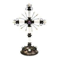 Rock Crystal, Fresh Water Pearl, Amethyst & Moonstone Silver Cross Figurine
