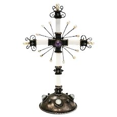 Rock Crystal, Fresh Water Pearl, Amethyst & Moonstone Silver Cross Figurine