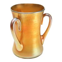 "LCT Louis Comfort Tiffany Iridescent Art Glass Favrile 6"" Loving Cup"