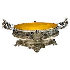 German 800 Silver Footed Centerpiece Bowl, circa 1900. Figural Cherub Handles