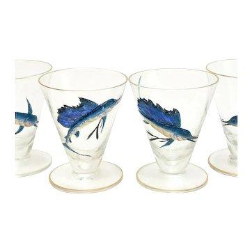 9 American Glass & Hand Painted Raised Enamel Swordfish Liquor Goblets