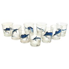 9 American Glass & Hand Painted Raised Enamel Swordfish Whiskey Tumblers