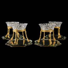French Cut Glass Gilt Bronze Footed Open Condiment Dishes 19th C. Mirror Plateau