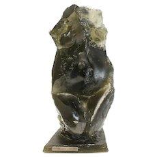 """Daum France Pate De Verre Art Glass Sculpture """"Solitude"""" by Maurice Legendre"""