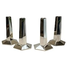 4 Tiffany & Co. Sterling F.L. Wright FDN Sterling Silver Modernist Candlesticks