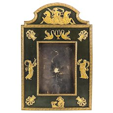 French First Empire Picture Frame, circa 1830. Applied Gilt Bronze Figurals &  Leather Backed
