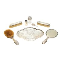 William Comyns London Sterling Silver Vanity Set Cherubs Angels