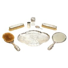 William Comyns London Sterling Silver Vanity Set Cherubs Angels