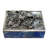 Taillan Adriano for Dunhill 800 Silver Lapis Lazuli & White Quartz Cigarette Box