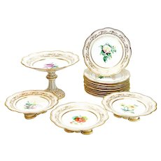 Continental Porcelain Hand Painted Dessert Service for 10. Floral and Gilt