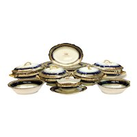 11pc Sevres France Porcelain Cobalt Blue & Gilt Serving Pieces, Armorial Crest