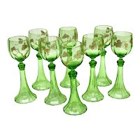 8 Bohemian Green Art Glass & Gold Encrusted Wine Goblets, Mid Century