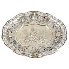 George Roth German Hanau Silver Figural Pierced Footed Presentation Tray, circa 1900