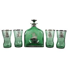American Silver Overlay Green Glass Decanter & Glasses Nautical Ships,19th Century