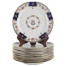 12 Spode Copeland China 'Courage et Fidelitas' Dinner Plates #200, circa 1890