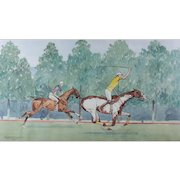"""Paul Desmond Brown (20th C) Watercolor Equestrian Polo Painting """"Around The Field"""""""