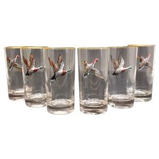 6 American Art Glass & Hand Painted Enamel Tumblr Glasses. c.1940. Signed