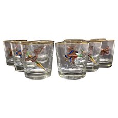 8 American Art Glass & Painted Enamel Old Fashioned Glasses. c.1940. Signed
