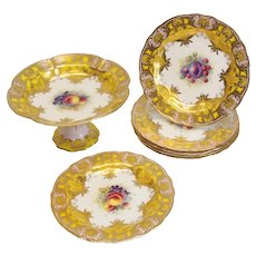 Royal Worcester Hand Painted Dessert Service for 6, c.1945. Signed Horace Price