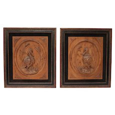 Charming Pair of Wood Carved Bird Relief Plaques, circa 1900