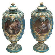 Pair Sevres Style France Porcelain Hand Painted Urns, 19th Century. Mothers & Children