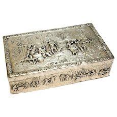 Italian 800 Silver Box, circa 1900. Hand Chased Figural Dancing Scenes