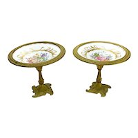 Pair Sevres France Porcelain Gilt Bronze Mounted Footed Tazzas, circa 1920