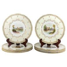12 pc. Royal Worcester Porcelain Cabinet Plates c1900