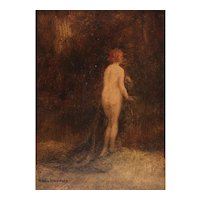Allan Douglas Davidson (British, 1873-1932) Oil on Board Painting of Nude Woman