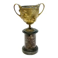 Continental Gilt Patinated Bronze Kantharos Cup on Marble Base, circa 1900