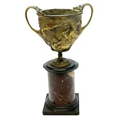 Continental Gilt Patinated Bronze Kantharos Cup on Marble Base, 19th Century