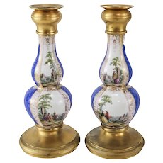 Pair of Dresden Porcelain Gilt Bronze Candlesticks, circa 1900. Hand Painted