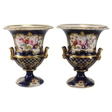 Pair Continental Hand Painted Urns, circa 1900. Manner of Sevres or Royal Crown Derby