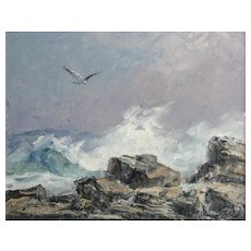 Richard Hasenfus (American 1932) Oil on Canvas Seascape Painting, Signed 1994